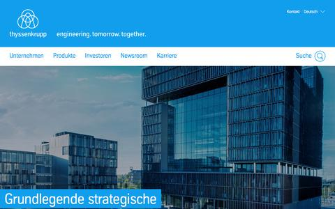 Screenshot of Home Page thyssenkrupp.com - thyssenkrupp – engineering tomorrow together - captured July 13, 2019