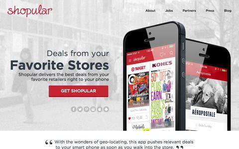 Screenshot of Home Page shopular.com - Shopular | Mobile Coupons Always With You, Always Saving - captured Sept. 17, 2014