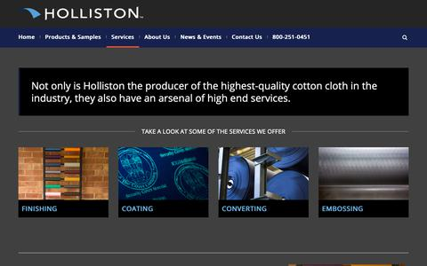 Screenshot of Services Page holliston.com - Services include Coating, Converting, Embossing & Decorative Prints | Holliston - captured Sept. 29, 2018