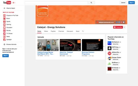 Screenshot of YouTube Page youtube.com - Catalyst - Energy Solutions  - YouTube - captured Oct. 22, 2014