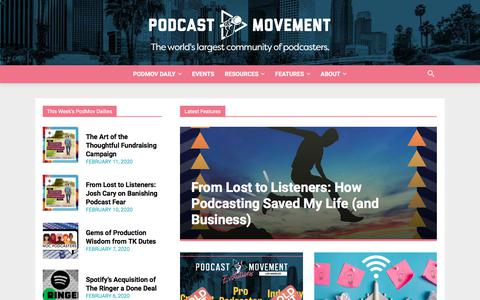 Screenshot of Home Page podcastmovement.com - Podcast Movement - Podcasting News, Resources, Conferences and Events! - captured Feb. 11, 2020