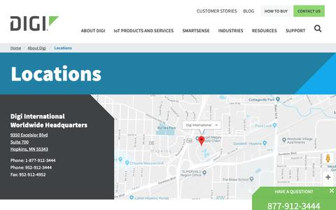 Screenshot of Locations Page digi.com - Locations | Digi International - captured Feb. 8, 2019