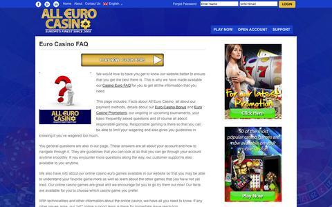 Screenshot of FAQ Page alleurocasino.com - Euro Casino FAQ – Getting to know All Euro Casino - captured Oct. 3, 2014