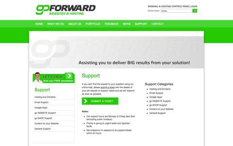 Screenshot of Support Page goforward.co.nz - go FORWARD | Website Design, Website Development, New Plymouth, Taranaki - captured Sept. 30, 2014