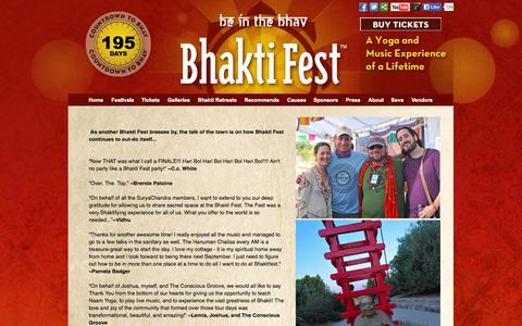 Screenshot of Testimonials Page bhaktifest.com - Testimonials | Bhakti Fest - captured Oct. 31, 2014