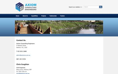 Screenshot of Contact Page axiomce.com.au - Contact Us - Axiom Consulting Engineers - Civil Engineers and Town Planners | Victoria | Queensland | Australia - captured Nov. 5, 2018