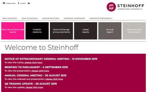 Screenshot of Home Page steinhoffinternational.com - Steinhoff International Holdings NV | Home - captured Nov. 1, 2019