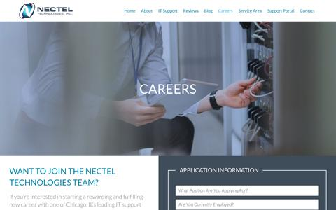 Screenshot of Jobs Page necteltechnologies.com - Careers Page   Join Our Team   Apply for a Career with Nectel Technologies in Chicago   Nectel Technologies - captured Nov. 15, 2018