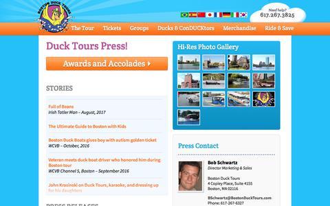 Screenshot of Press Page bostonducktours.com - Press Page - Boston Duck Tours - captured Sept. 25, 2018