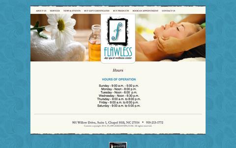 Screenshot of Hours Page flawlessdayspa.com - Hours - captured Feb. 10, 2016