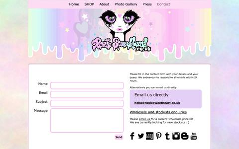 Screenshot of Contact Page roxiesweetheart.co.uk - Contact Roxie Sweetheart ; Cute and Kawaii Jewellery and Accessories - captured June 15, 2017