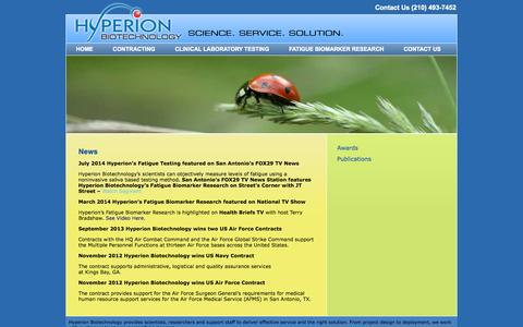 Screenshot of Press Page hyperionbiotechnology.com - News   Hyperion Biotechnology - captured Oct. 3, 2014