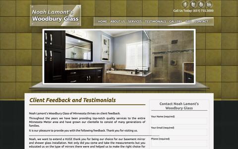 Screenshot of Testimonials Page woodburyglass.com - Customer Feedback and Testimonials | Woodbury Glass - captured Sept. 26, 2018
