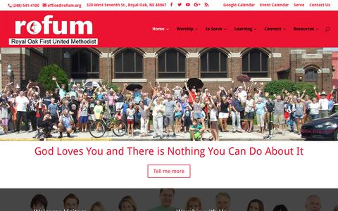 Screenshot of Home Page rofum.org - Royal Oak First United Methodist Church - Rofum - captured Oct. 13, 2017