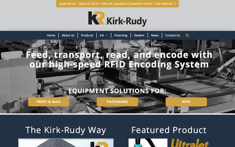 Screenshot of Home Page kirkrudy.com - Kirk-Rudy | Print Mail Packaging RFID Equipment Manufacturer - captured Oct. 17, 2017
