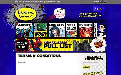 Screenshot of Terms Page casablancacomics.com - Terms & Conditions |Casablanca Comics - captured Dec. 7, 2015