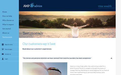Screenshot of Testimonials Page amp.com.au - Client Testimonials - AMP Advice Vine Wealth - captured Nov. 28, 2016