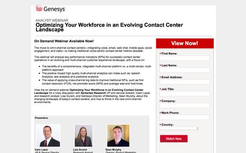 Screenshot of Landing Page genesys.com - Optimizing Your Workforce in an Evolving Contact Center Landscape   WFO Webinar   Genesys - captured Aug. 17, 2016