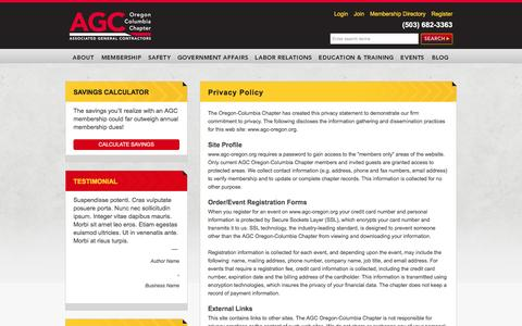 Screenshot of Privacy Page agc-oregon.org - Privacy Policy | Associated General Contractors - captured Nov. 21, 2016