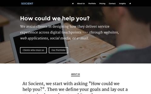 Screenshot of Contact Page socient.net - Socient - Developers and technical consultants to nonprofits, social enterprise, and social-good for-profits - captured Oct. 8, 2014