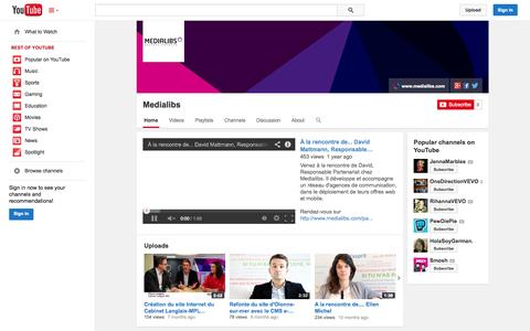 Screenshot of YouTube Page youtube.com - Medialibs  - YouTube - captured Oct. 27, 2014