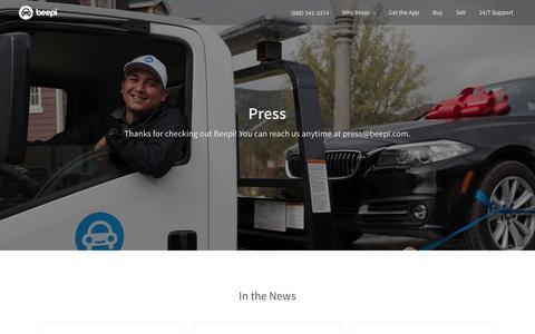 Screenshot of Press Page beepi.com - Press | Beepi - captured April 12, 2016