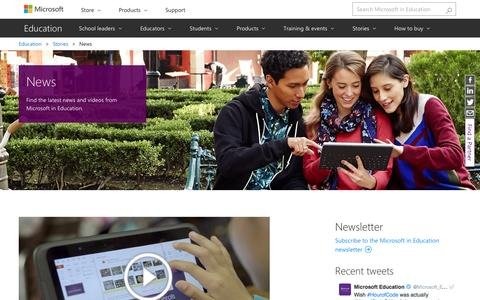 Screenshot of Press Page microsoft.com - News - Microsoft Education - captured Jan. 1, 2017