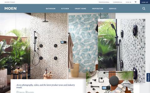 Screenshot of Press Page moen.com - Moen Press Room - captured July 1, 2019