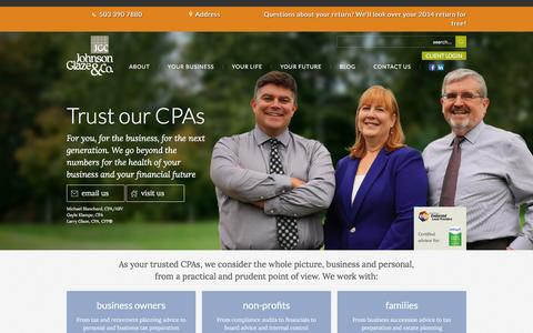 Screenshot of Home Page johnsonglaze.com - Trust our local CPAs | Johnson, Glaze & Co. - captured Feb. 11, 2016