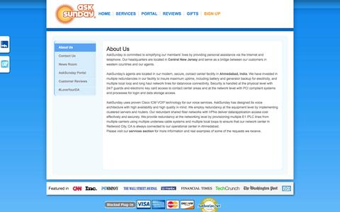Screenshot of About Page asksunday.com - Personal Assistant, Virtual, Services, Online, Data, Digital, Hire - captured Oct. 31, 2014