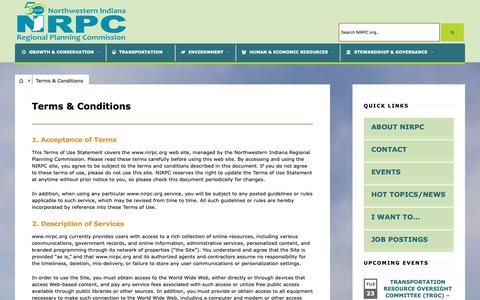 Screenshot of Terms Page nirpc.org - Terms & Conditions   NIRPC - captured Oct. 19, 2018