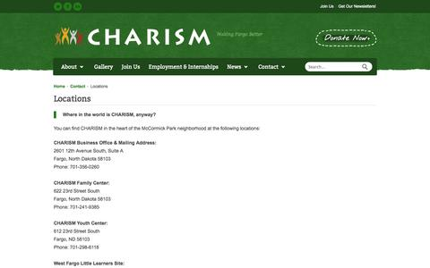 Screenshot of Locations Page charism.org - Locations | CHARISM - captured Sept. 26, 2014