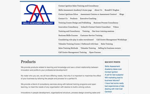 Screenshot of Products Page contactignition.com - Products | Contact Ignition a Skills Assessment Academy Company - captured Sept. 30, 2014