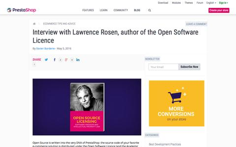 Screenshot of prestashop.com - Interview with Lawrence Rosen, author of the Open Software Licence - captured May 6, 2016