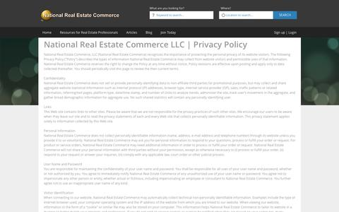 Screenshot of Privacy Page nationalrealestatecommerce.com - National Real Estate Commerce LLC | Privacy Policy - captured Jan. 13, 2016