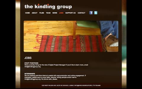 Screenshot of Jobs Page kindlinggroup.org - JOBS   The Kindling Group - captured Sept. 30, 2014