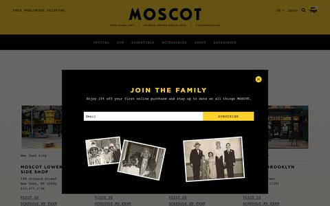 Screenshot of Locations Page moscot.com - Find MOSCOT Eyeware & Eyecare | MOSCOT Locations | MOSCOT NYC - captured Sept. 24, 2018