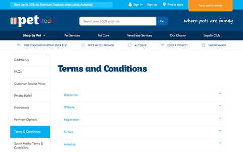 Screenshot of Terms Page petstock.com.au - Terms and Conditions | PETstock - captured Sept. 22, 2018