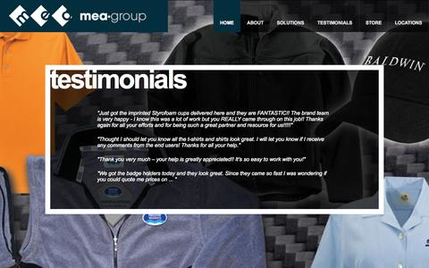 Screenshot of Testimonials Page meagroup.net - MEA Group | Marketing & Promotions - captured Sept. 30, 2014