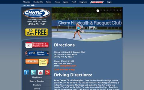 Screenshot of Maps & Directions Page chhrc.com - Directions to CHHRC   Cherry Hill Health & Racquet Club - captured Oct. 2, 2014