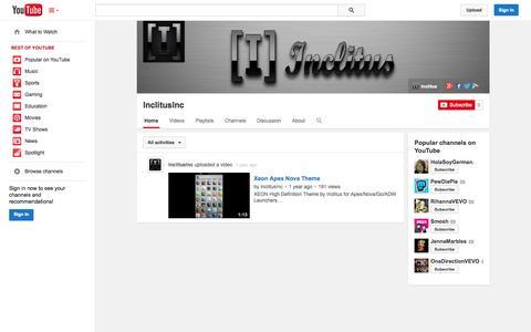 Screenshot of YouTube Page youtube.com - InclitusInc  - YouTube - captured Oct. 23, 2014