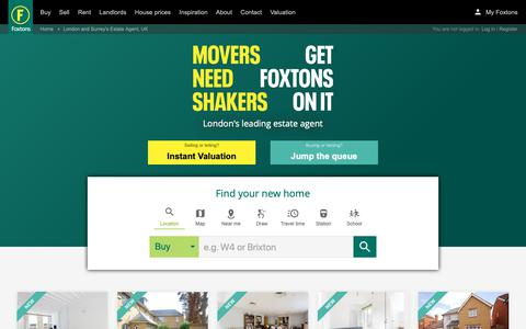 Screenshot of Home Page foxtons.co.uk - Foxtons: London Estate Agents, UK. Properties for Sale, London Rentals, Short Lettings and New Homes - captured April 13, 2019