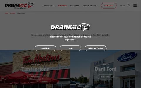 Screenshot of Case Studies Page drainvac.com - Professional Vacuum Cleaner Case Studies | Drainvac - captured June 3, 2017