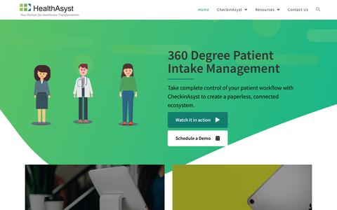 Screenshot of Products Page healthasyst.com - The Complete Patient Intake Software | CheckinAsyst - captured Oct. 13, 2019