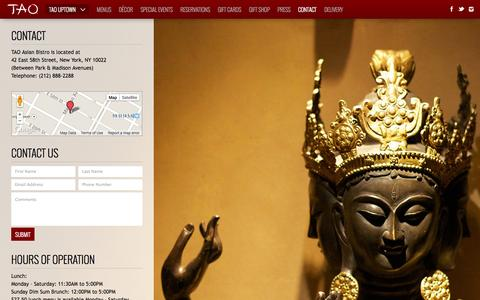 Screenshot of Contact Page taorestaurant.com - Contact - TAO | New York - captured Oct. 27, 2014