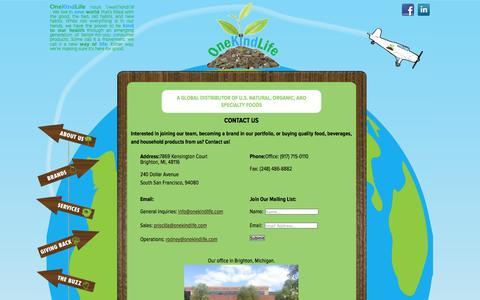 Screenshot of Contact Page onekindlife.com - Contact Us - OneKindLife - captured Oct. 7, 2014