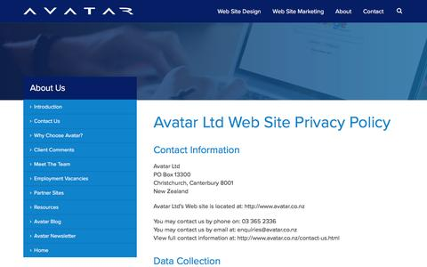 Screenshot of Privacy Page avatar.co.nz - Avatar Privacy Policy : Christchurch Web Site Design, Christchurch Website Design, Christchurch Web Site Design - captured April 8, 2016