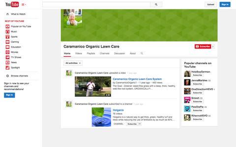 Screenshot of YouTube Page youtube.com - Caramanico Organic Lawn Care  - YouTube - captured Oct. 22, 2014