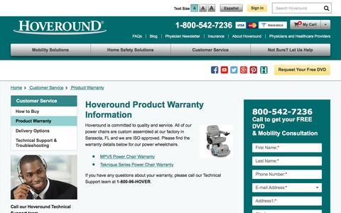 Screenshot of Press Page hoveround.com - Product Warranty | Hoveround - captured Nov. 2, 2016
