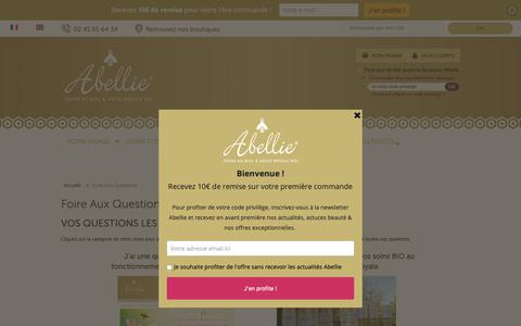 Screenshot of FAQ Page abellie.fr - Foire Aux Questions - captured Oct. 21, 2018